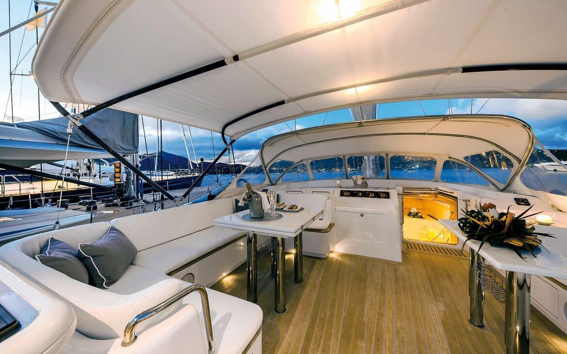 Sailing Yacht SPIIP Sun Deck Evening