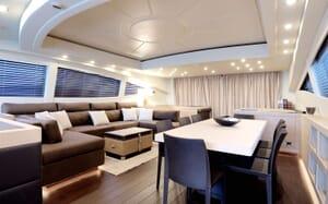 Motor yacht KAWAI living room with vast seating soft lighting