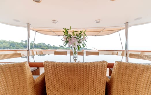 Motor Yacht ARIONAS Aft Deck Dining Table Close Up