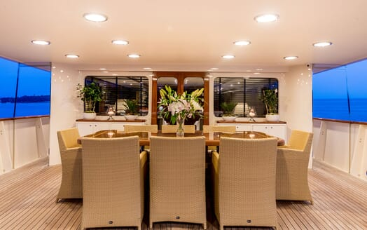 Motor Yacht ARIONAS Aft Deck Dining Table