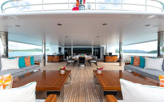 Motor Yacht SECRET Aft Deck Dining Table and Seating