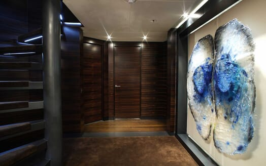 Motor Yacht Inception stairwell