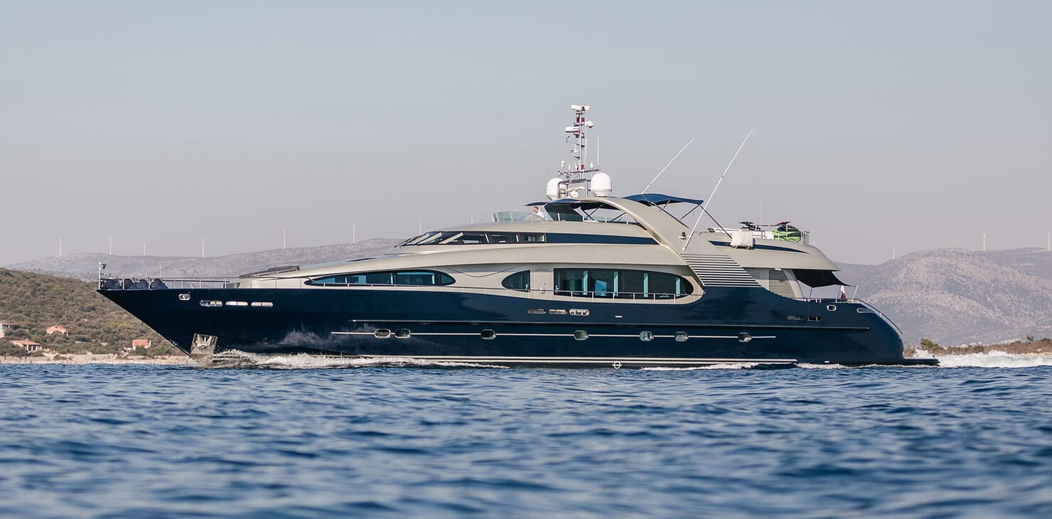 Motor Yacht One Blue running shot