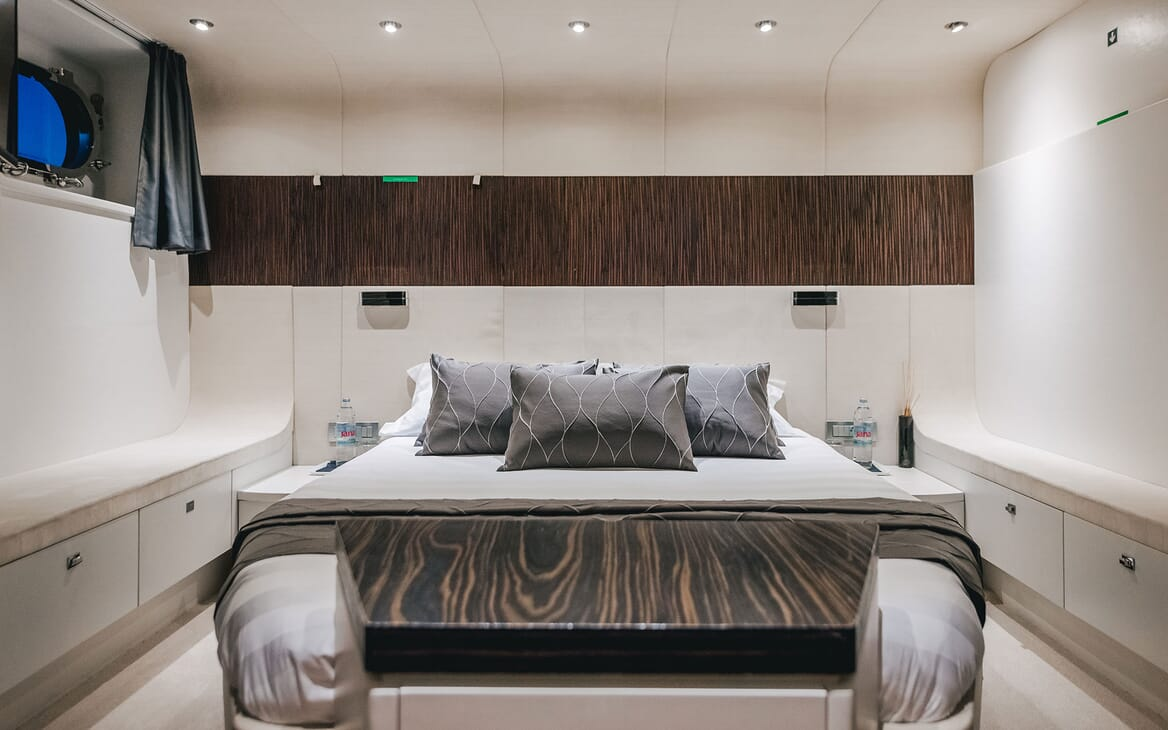 Motor Yacht ONE BLUE Guest Double Stateroom Bed