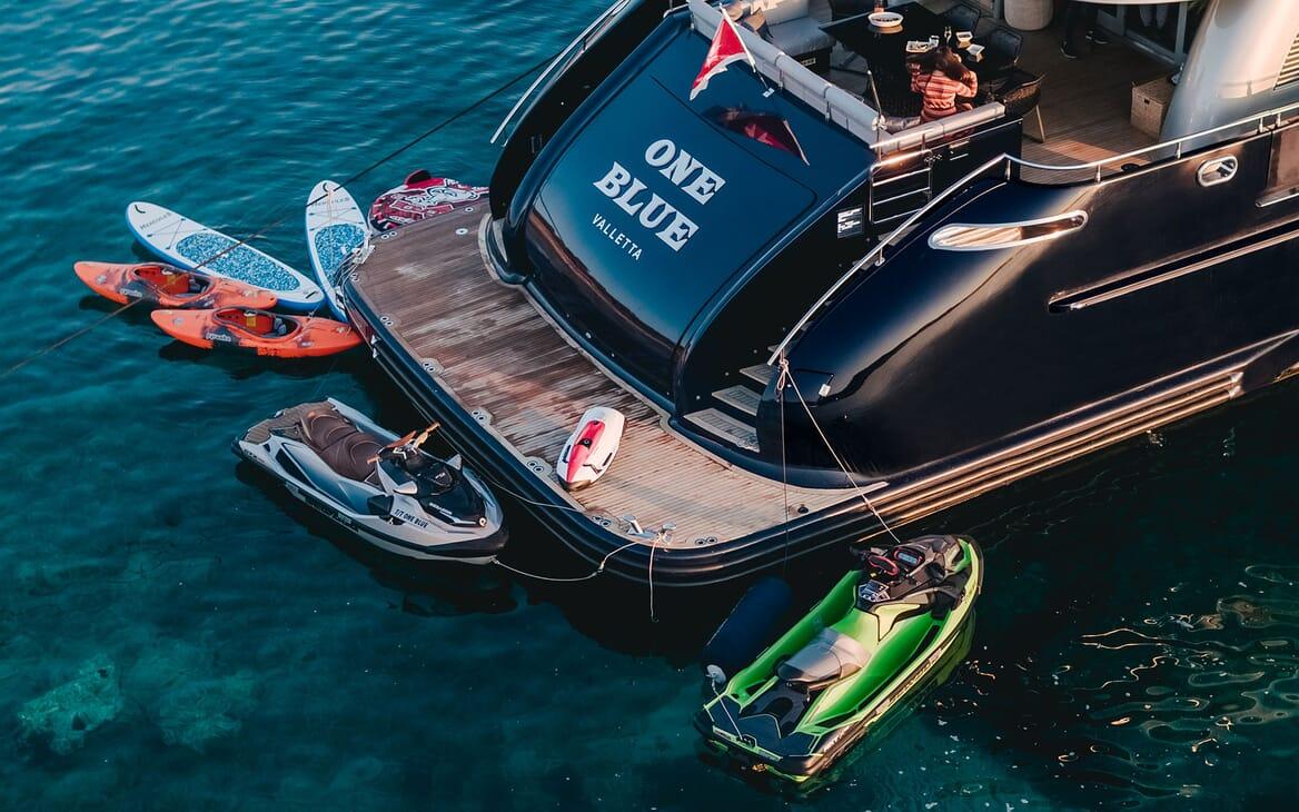 Motor Yacht ONE BLUE Swim Platform with Toys