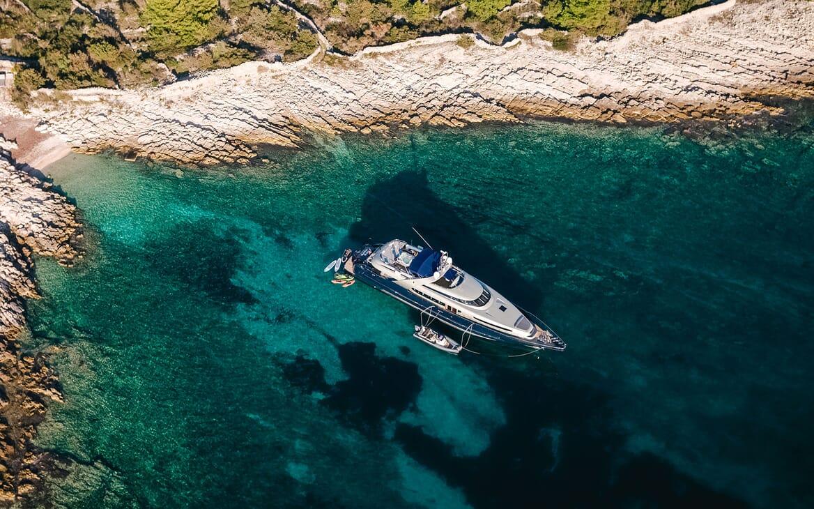 Motor Yacht ONE BLUE Aerial Shot