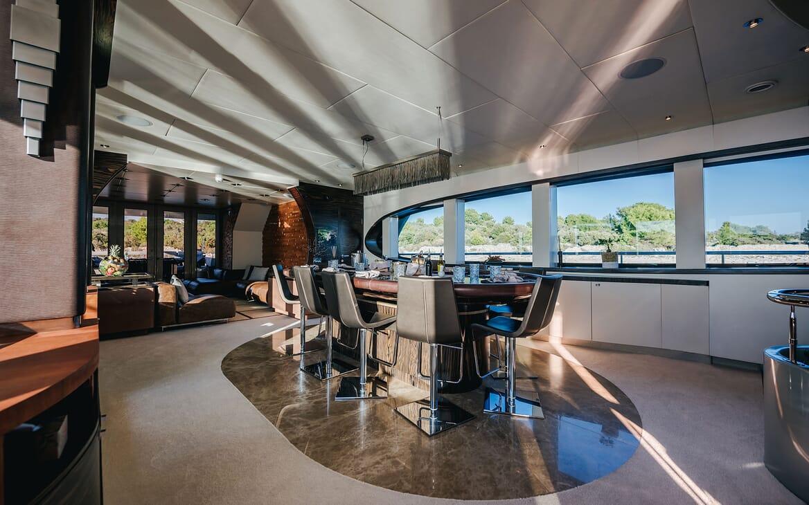 Motor Yacht ONE BLUE Main Deck Salon Dining Table