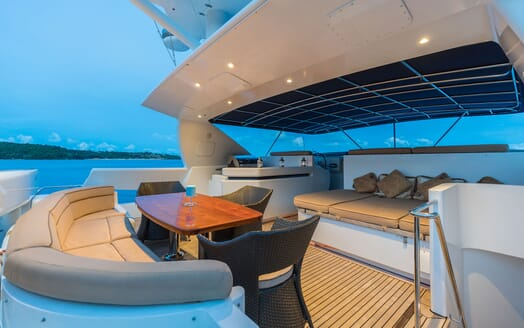 Motor Yacht XANADU OF LONDON Evening SUn Deck Seating