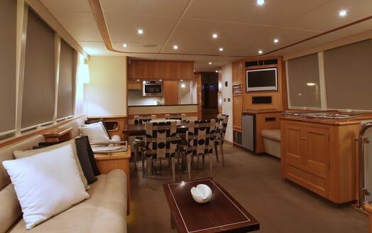 Motor Yacht TASMAN Main Saloon Dining Table View