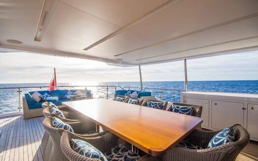Motor Yacht LULU Aft Deck View and Dining Table