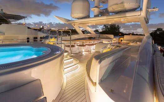 Motor Yacht Man of Steel Sun Deck Evening