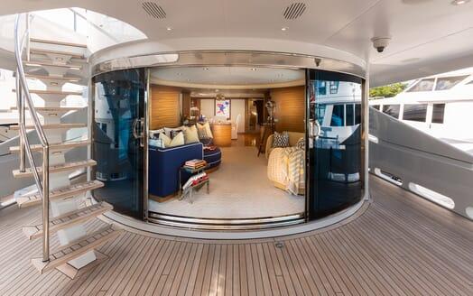 Motor Yacht Man of Steel Main Saloon through doors