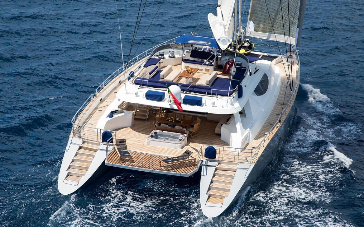 Sailing Yacht HUTIANE Aft View Underway