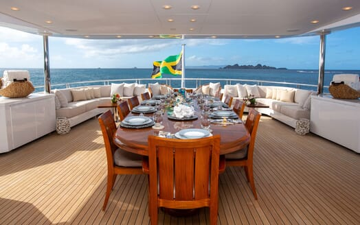 Motor Yacht BALISTA Upper Aft Deck Dining Table