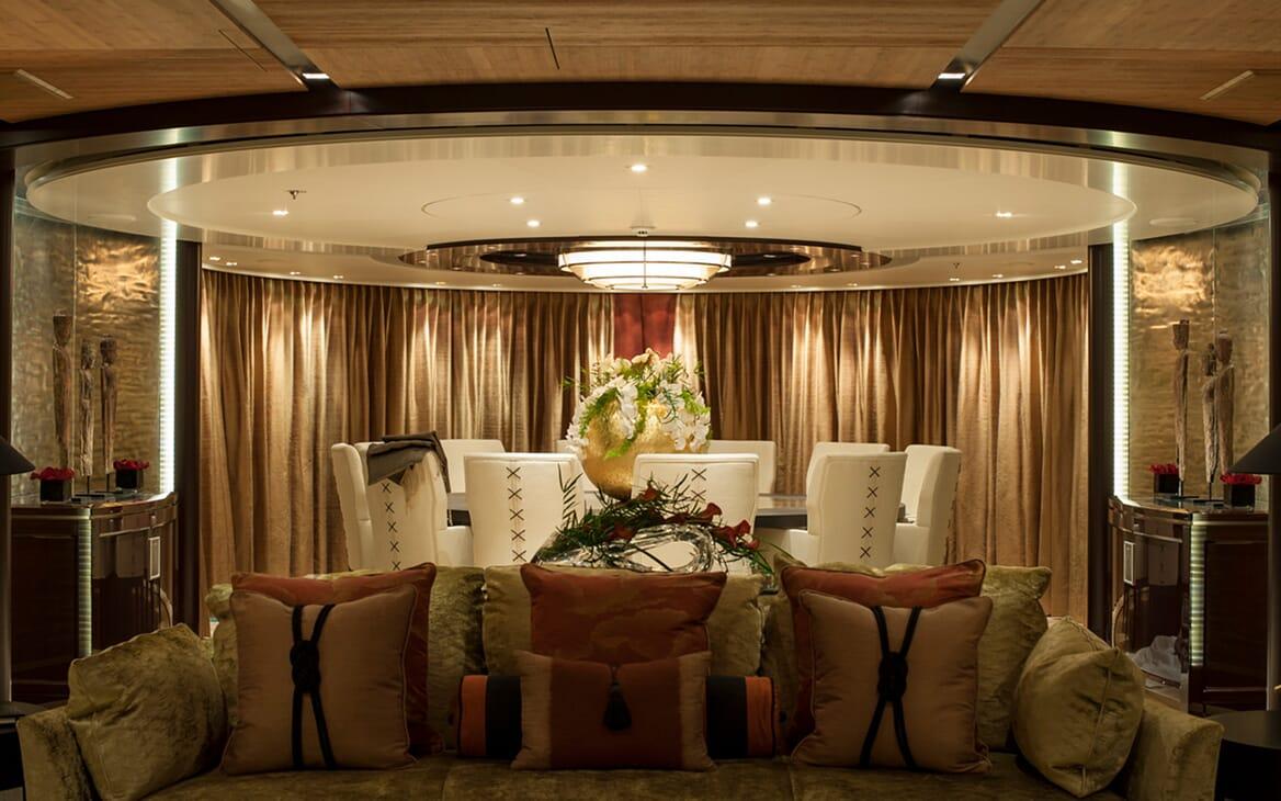 Motor Yacht SEA RHAPSODY Main Deck Saloon and Dining Table