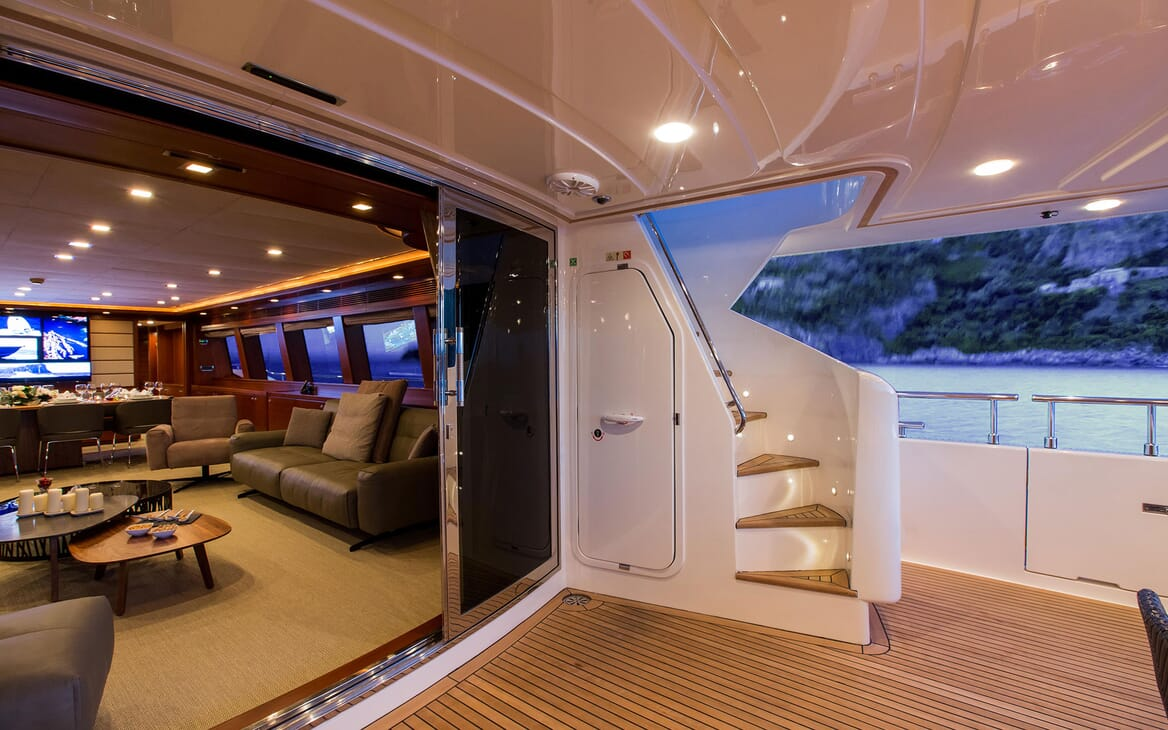 Motor Yacht Robusto Aft Deck and Saloon