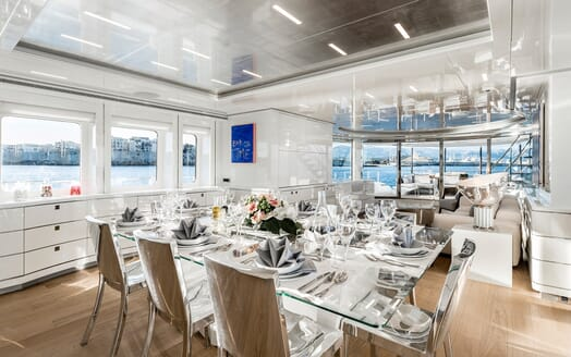 Motor Yacht Destiny dining area