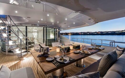 Motor Yacht Destiny outside dining