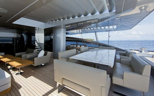 Sailing Yacht VERTIGO Aft Deck Dining Table