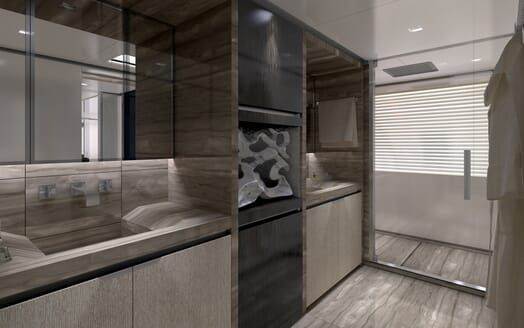 Motor Yacht Flying Dagger master bathroom