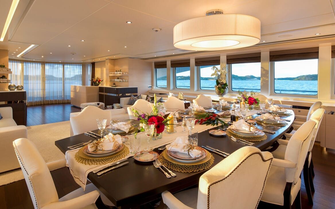 Motor Yacht LADY L Main Saloon Dining Table