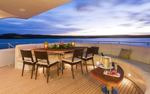 Motor Yacht LADY L Aft Deck Table and Seating