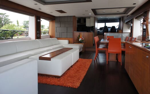 Motor Yacht MAXXX Main Saloon and Dining Table
