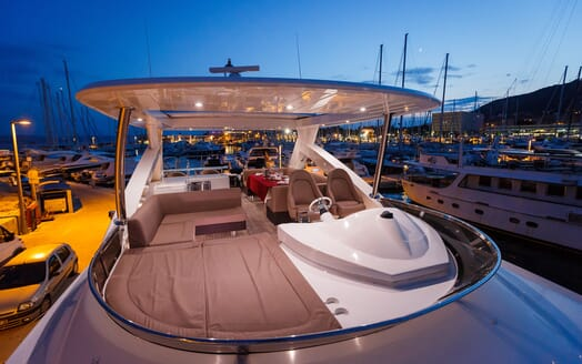 Motor Yacht The Best Way Sun Deck in the Evening
