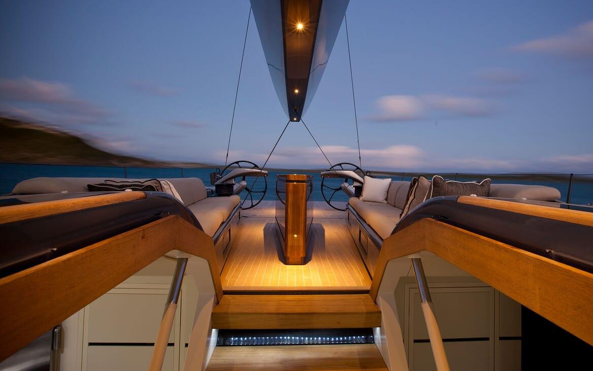 Sailing Yacht AEGIR On Deck Wheel Aft View