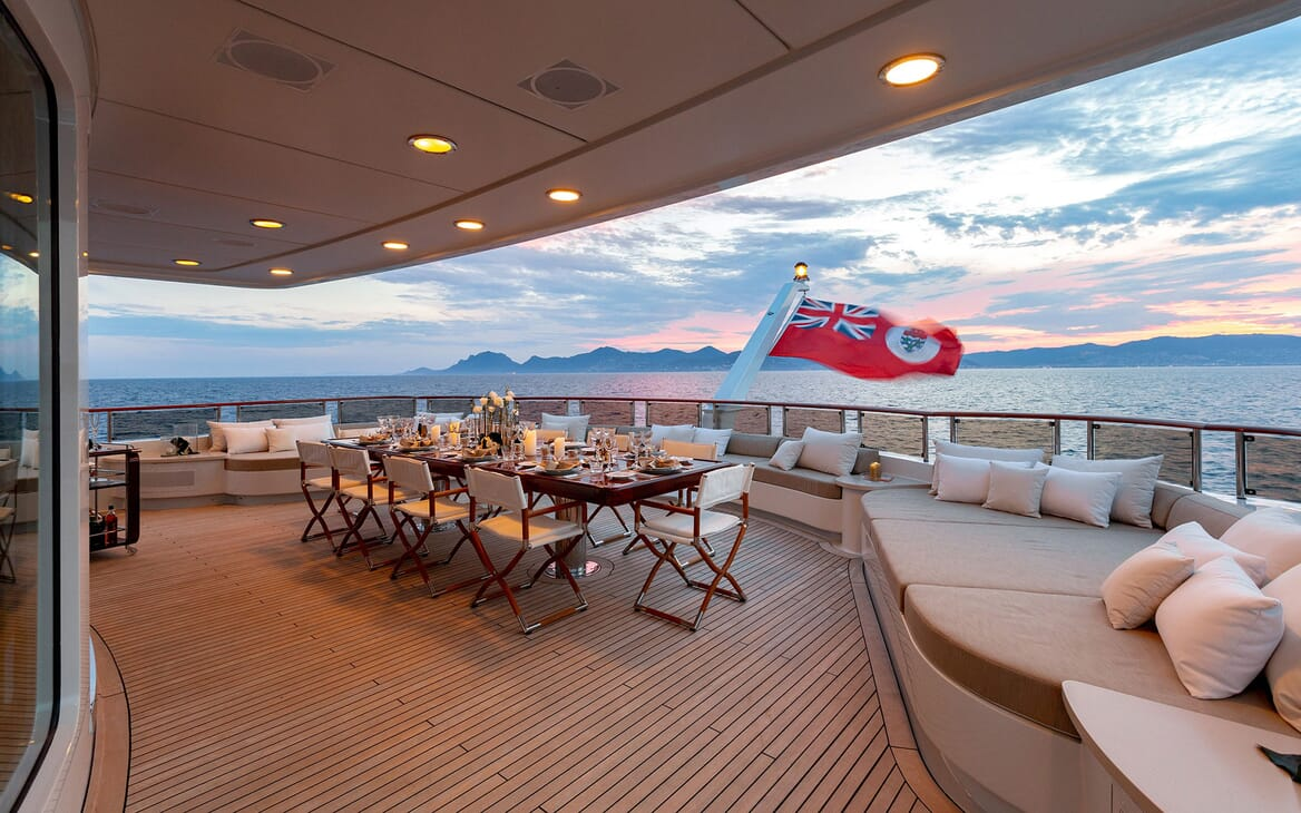 Motor Yacht HELIOS Aft Deck Sun Set