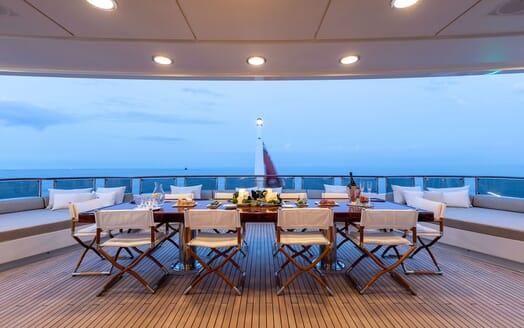 Motor Yacht HELIOS Aft Deck Al Fresco Dining