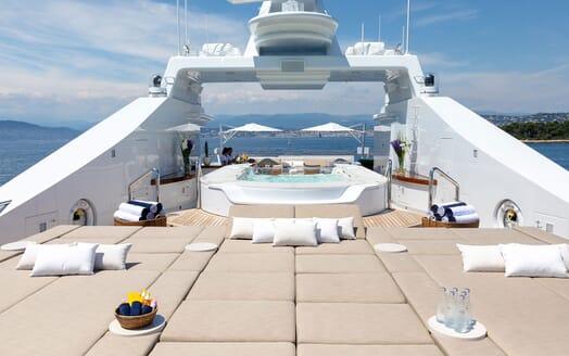 Motor Yacht HELIOS Sun Deck Jacuzzi and Sun Pad