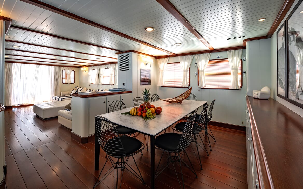Motor Yacht Persuader Saloon and Dining