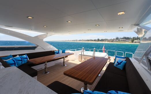 Motor Yacht Paradise outside seating area