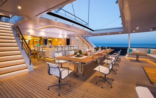 Sailing Yacht AQUIJO Aft Deck Evening Dining