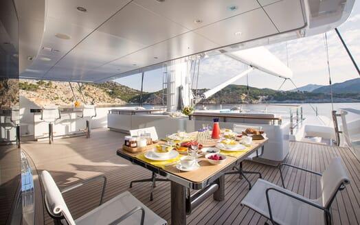 Sailing Yacht AQUIJO Aft Deck Breakfast