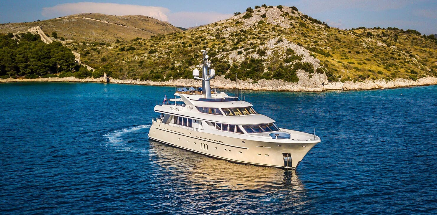Motor yacht Milaya hero shot on water