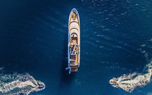 Motor yacht Milaya high aerial shot