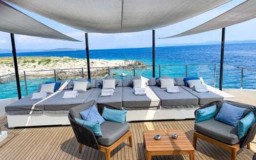 Motor Yacht MR. T Main Saloon and Dining Table