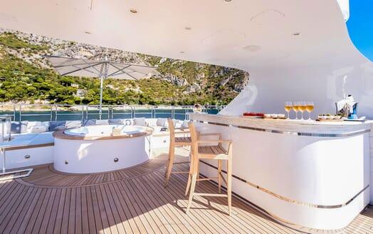 Motor Yacht MY WAY Sun Deck Bar and Jacuzzi