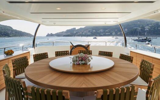 Motor Yacht Takara Aft Dining