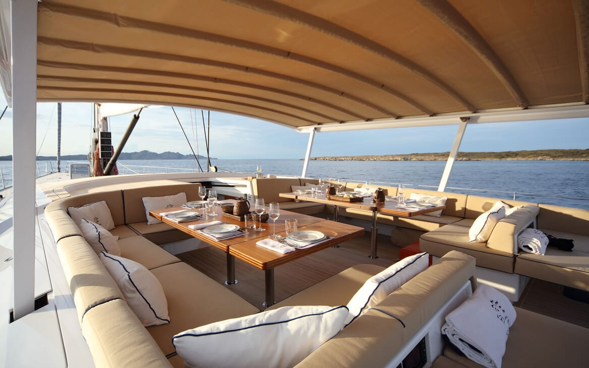 Sailing Yacht SOLLEONE Sun Deck Dining Tables