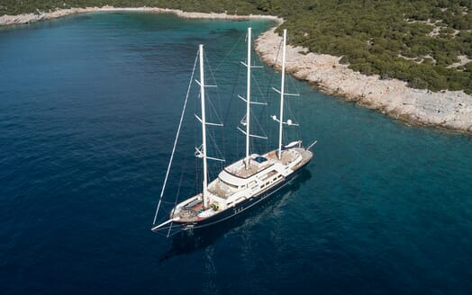 Sailing Yacht Meira under anchor