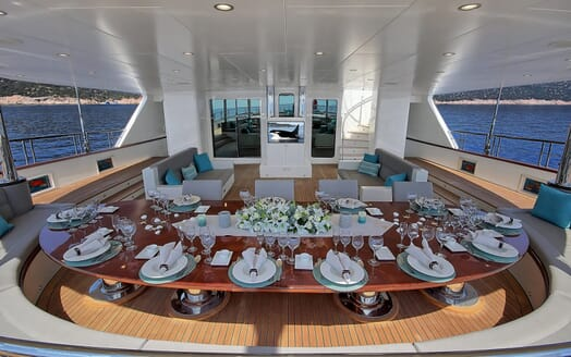 Sailing Yacht Meira dining area outside