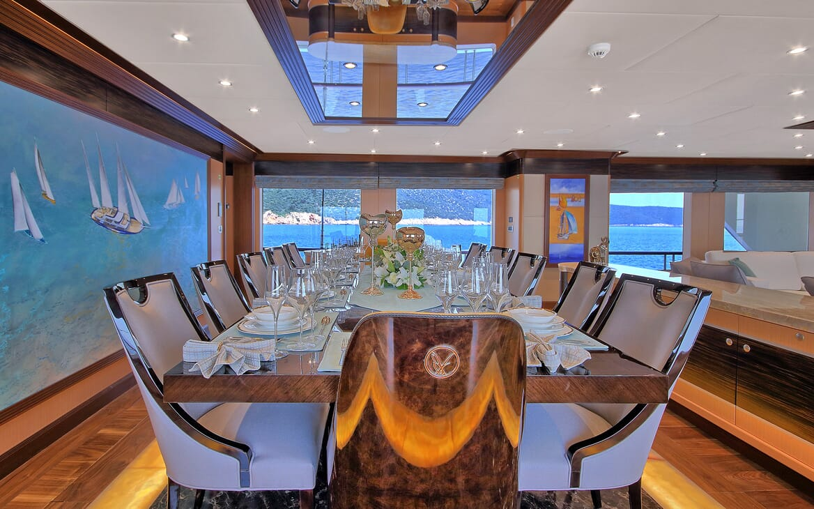 Sailing Yacht Meira dining area