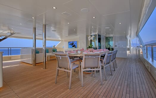 Sailing Yacht Meira outside eating area