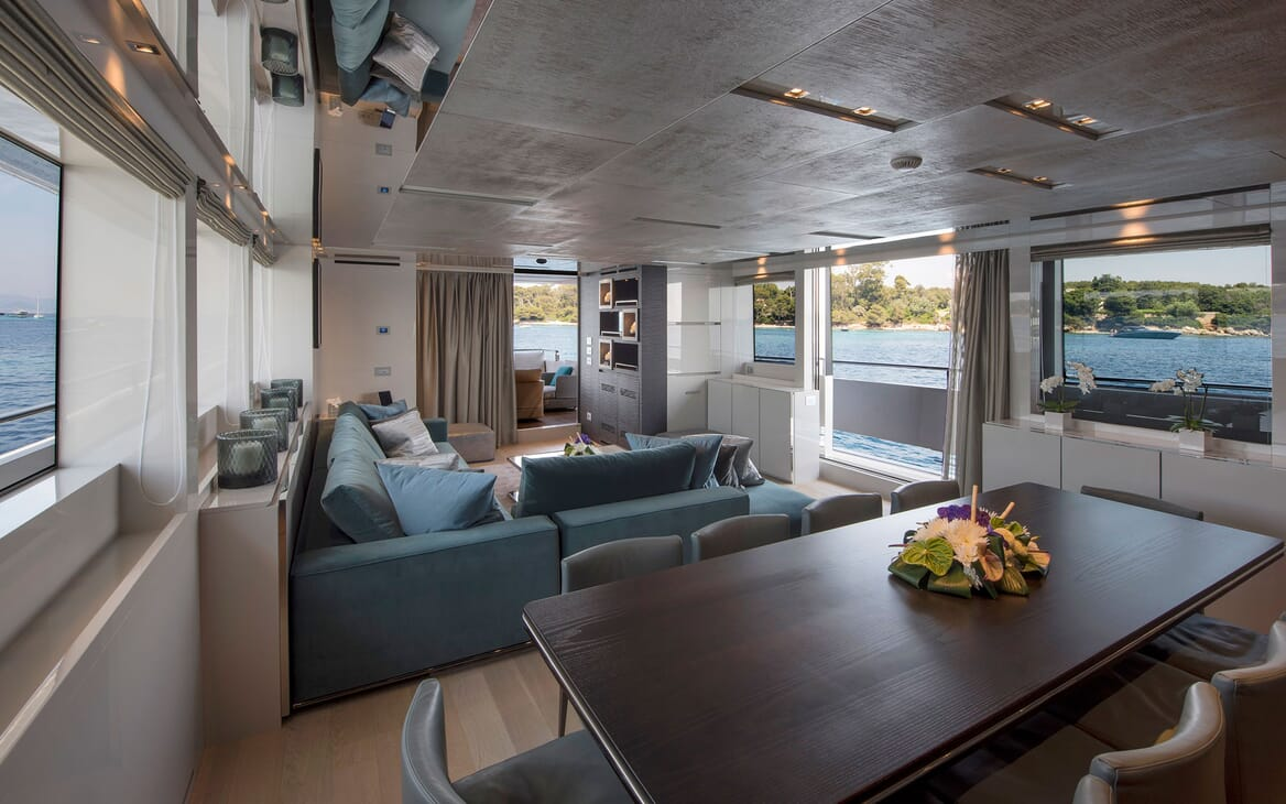 Motor Yacht SABBATICAL Dining Table and Saloon