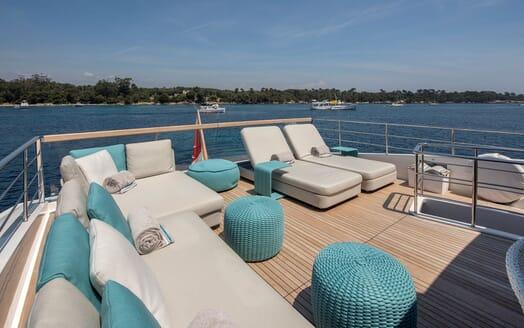 Motor Yacht SABBATICAL Top Aft Deck Loungers