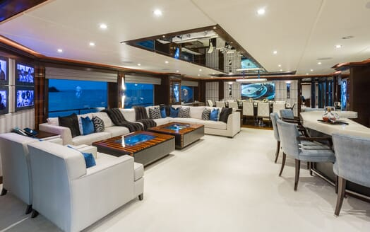 Motor Yacht KING BABY Main Saloon and Dining