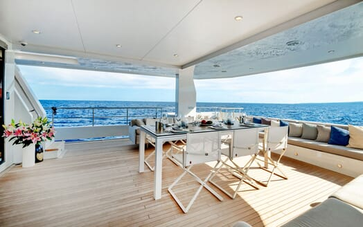 Motor Yacht SERENITAS Aft Deck Dining Table